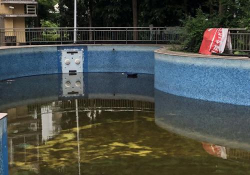 福州一小区内露天泳池无人清理成污水池 物业:排水管堵塞,已清洗