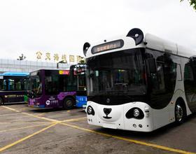 """福州:新能源無人駕駛""""熊貓智能公交""""亮相"""