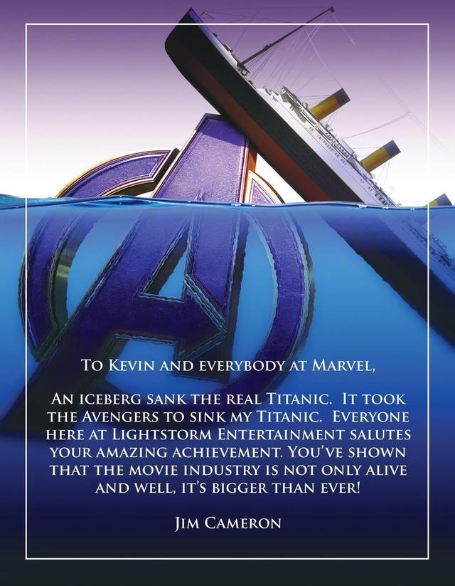 卡梅隆祝贺复联4说了什么 网友:泰坦尼克号在我心里的地位永不沉没