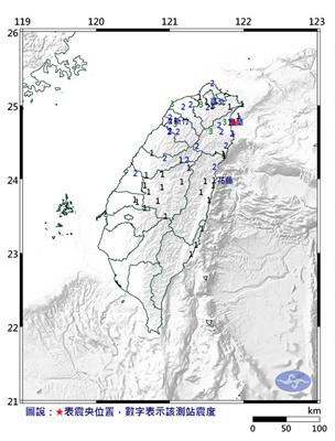 13日下昼16时55分 台湾沂攀兰近海产生4.9级地动