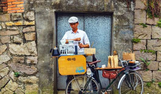 """福州:煙臺山巷弄的單車""""咖啡屋"""""""
