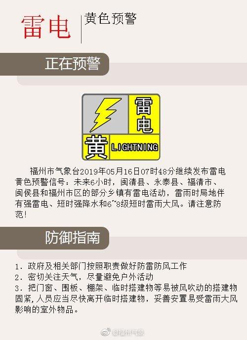 福州發布雷電黃色預警 伴有短時強降水雷雨大風
