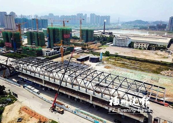 福州地铁6号线营前站钢结构封顶 系福建首座高架地铁站