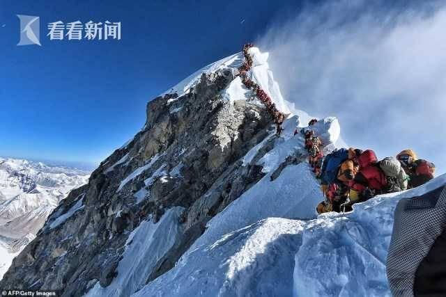珠峰拥堵多人丧生什么情况 登山者排成的长龙在狭李冰清无视窄山脊上