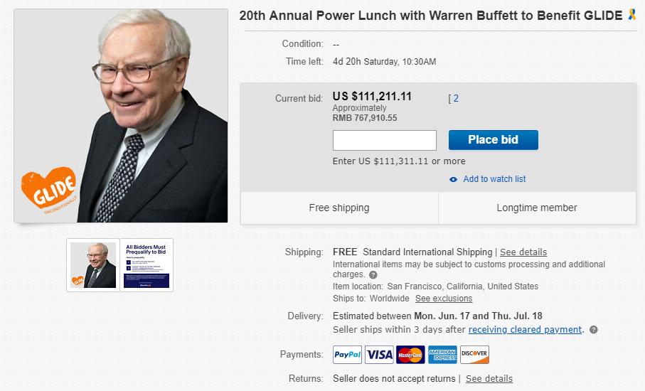 巴菲特午餐开拍什么情况 巴菲特午餐需要多少钱