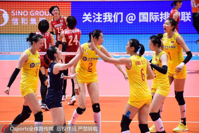 中國女排慶祝得分