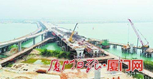 廈門翔安機場快速路傳捷報 南港特大橋完成箱梁澆筑
