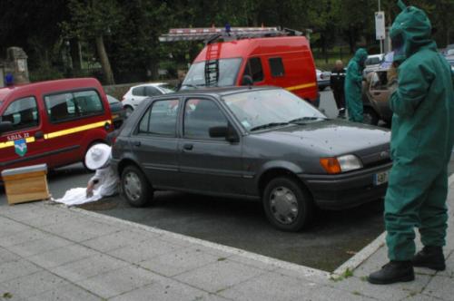 养蜂人从一辆汽车里∏捡出蜜蜂。(图源:推特)