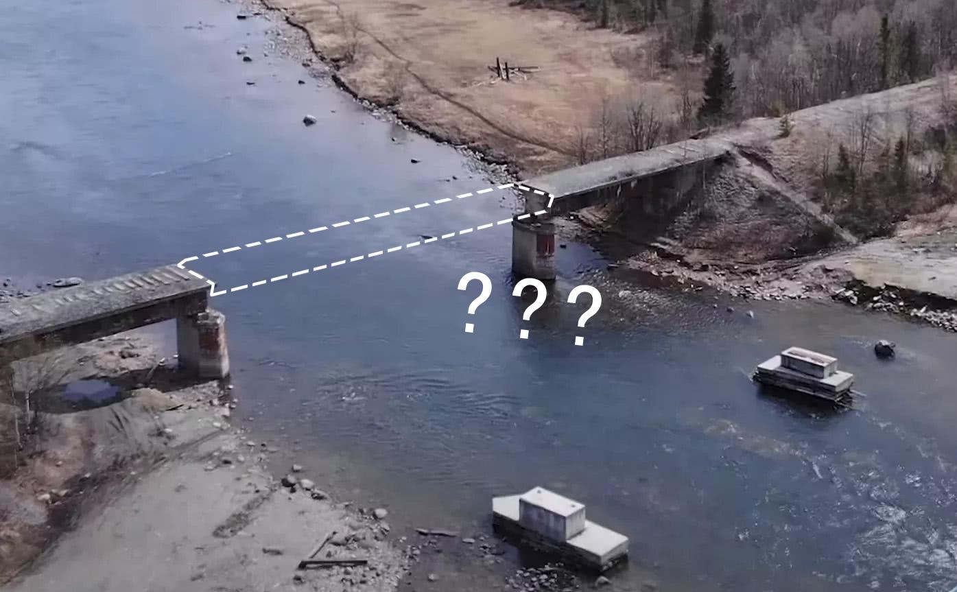 大橋鋼結構已經不知去向 圖丨VKontakte