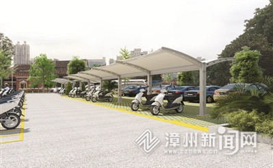 古城北入口非机动车停车场效果图,此外还将配备充电设施.