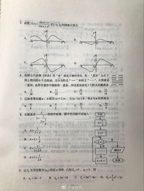 2019全国一卷理科数学答案 全国卷1数学真题试题高清试卷