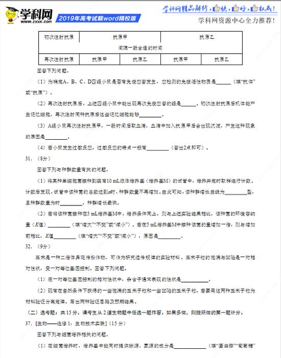 2019高考理綜真題(全國卷III)及參考答案 算算理綜能拿多少分?