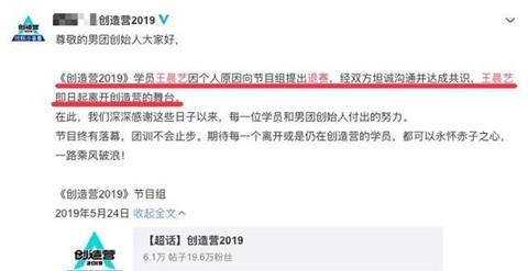 创造营2019王艺晨退赛原因是什么 创造营2019王艺晨个人资料