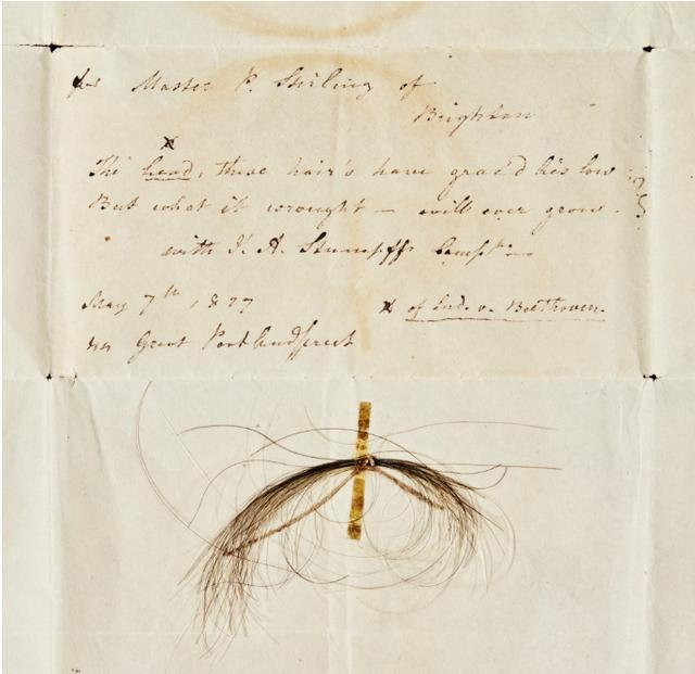 贝多芬一缕头发将公开拍卖 价格超过15000英镑
