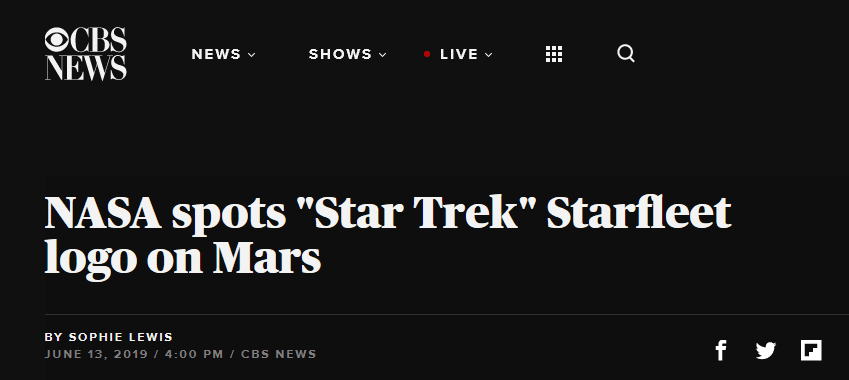 火星表面星际图案什么情况 酷似《星际迷航》中星际舰队标志