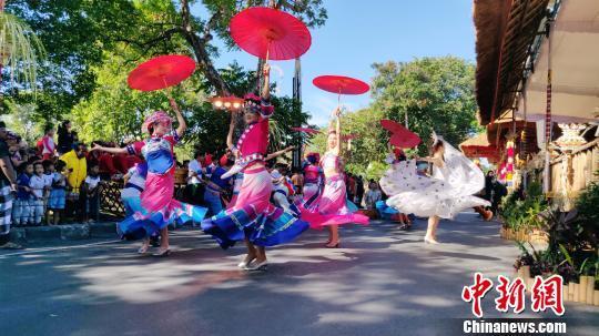 中国少数民族歌舞精彩亮相印尼巴厘艺术节(图)