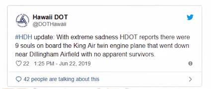 美国一架双引擎飞机在夏威夷坠毁,机上9人全部遇难