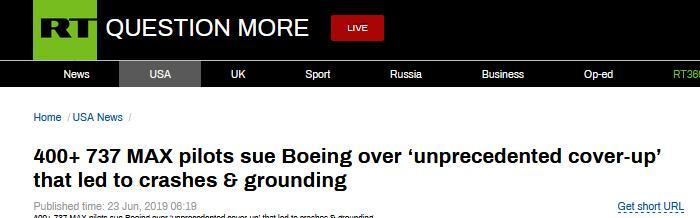 波音遭集体诉讼:数百名机长指控其掩饰737MAX瑕疵
