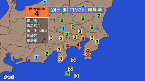 地震范围(NHK电视台)