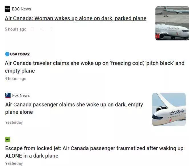 女乘客飞机上睡过头 醒来漆黑飞机上只剩下自己