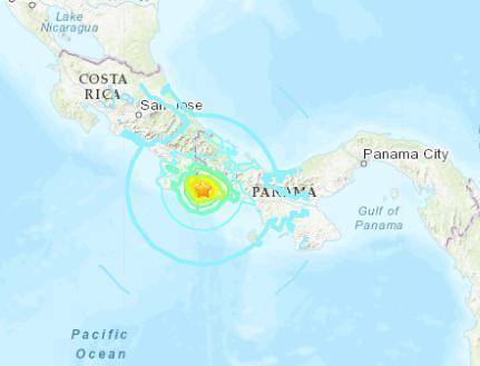 巴拿馬西部發生6.3級地震 震源深度10千米