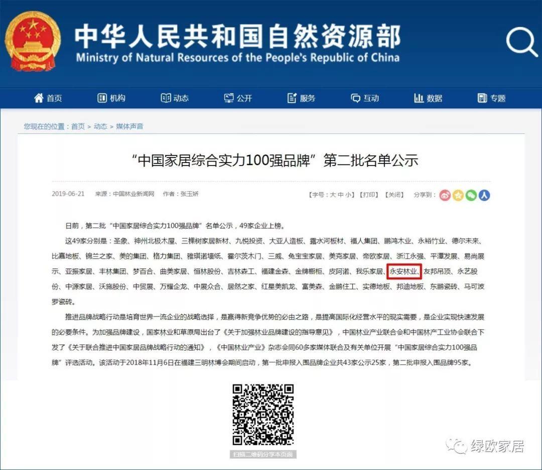 """永安林業入選2019""""中國家居綜合實力100強品牌""""名單"""
