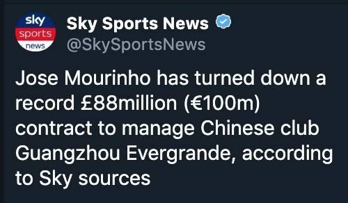 穆里尼奧拒絕恒大怎么回事?穆里尼奧拒絕恒大原因是什么?