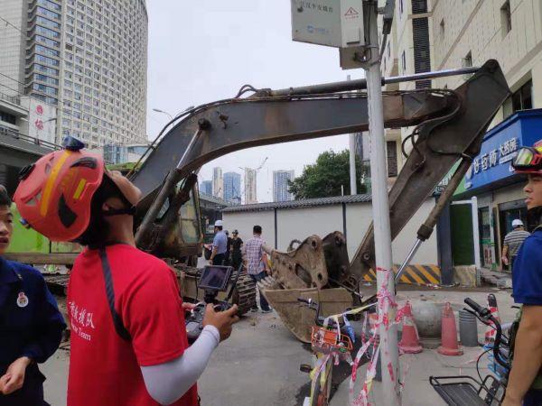 武汉解放大道一酒店副楼部分坍塌,暂未发现有人员被困