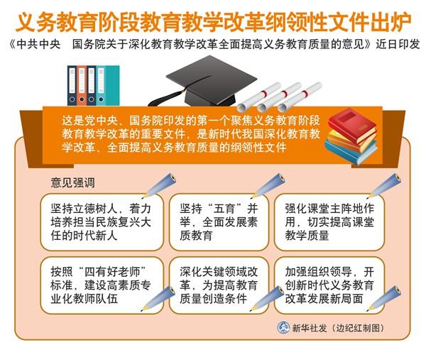 义务教育阶段教育教学改革纲领性文件出炉