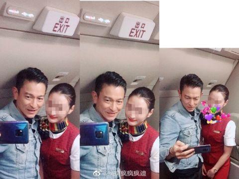 刘德华与空姐合影曝光令人倾慕 空姐笑侃本身和天王长得有点像