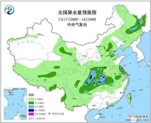 全国降水量预报图(7月17日08时-18日08时)