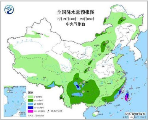 全国降水量预报图(7月19日08时-20日08时)