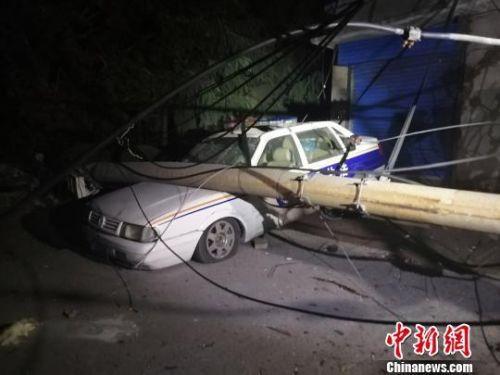 附近街头的电线杆倒塌后砸在一辆交通执法车上。 刘鹏 摄