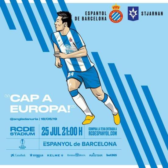 欧联杯资格赛第二轮西班牙人官方海报。图片来源:西班牙人官方社交媒体