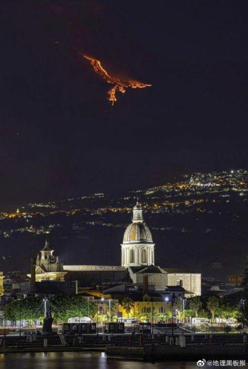 西西里岛火山熔岩像凤凰
