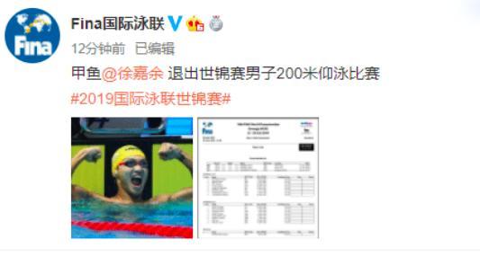 中国提前丢一金!徐嘉余200米仰泳退赛,备战接力联手孙杨冲金