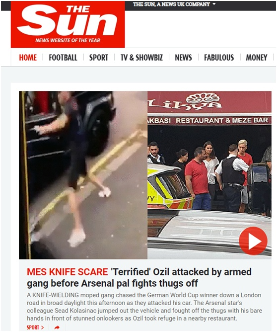厄齐尔遭抢劫怎么回事 两名英超球员遭遇蒙面持刀劫车