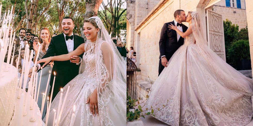 Elie Saab 儿子办婚礼替媳妇设计婚纱50万颗水晶刺绣礼服