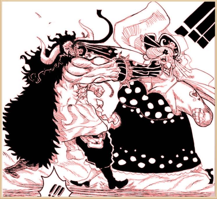 海贼王951话鼠绘汉化:狼牙棒对战拿破仑,大妈正式单挑百兽凯多