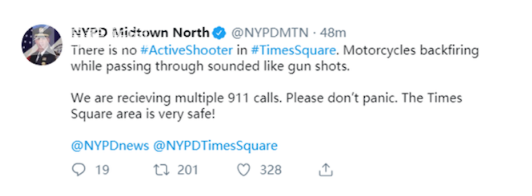 """时代广场万人奔逃 突然出现的""""枪声""""??"""