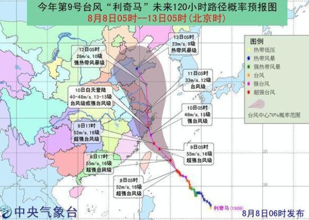 台风利奇马成风王波及7省2市 台风利奇马路径及影响地区一览