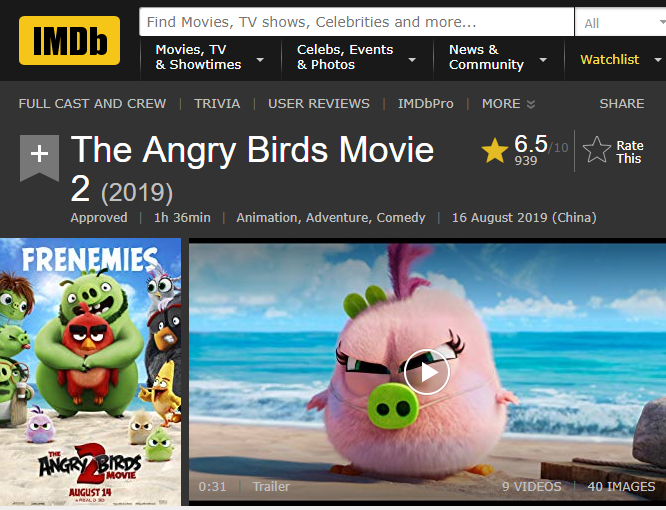 《愤怒的小鸟2》动画电影均分60 刚刚达到及格线