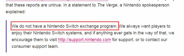 买老版Switch免费换新版?任天堂官方回应:绝无此事
