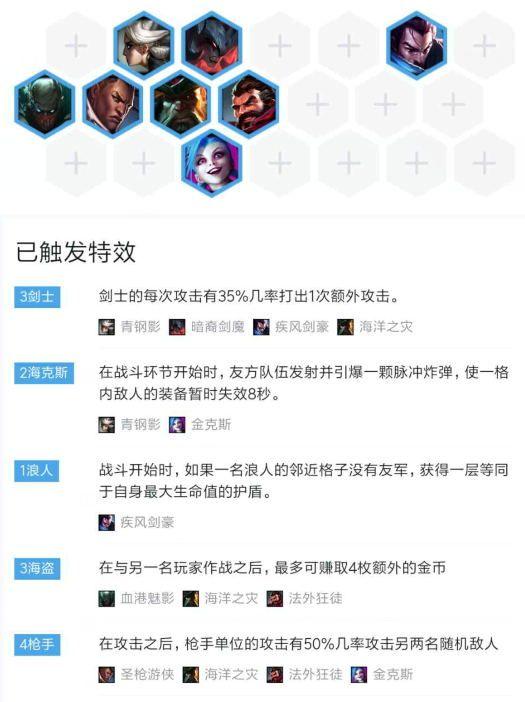 LOL云顶之弈海克斯六剑四枪三海盗阵容玩法介绍