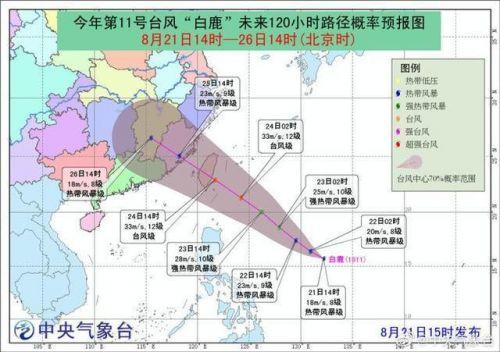 台风白鹿最新路径 第11号台风白鹿风力多大 2019年台风最新消息