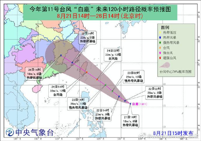 2019台风最新消息:台风白鹿实时路径概率预报图 11号台风白鹿周末或登陆台湾福建