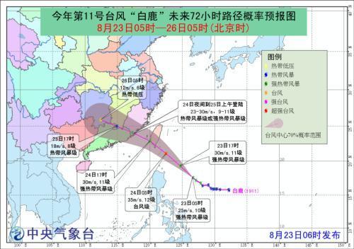 2019年臺風白鹿最新路徑到哪了?臺風白鹿會在哪里登陸最新消息