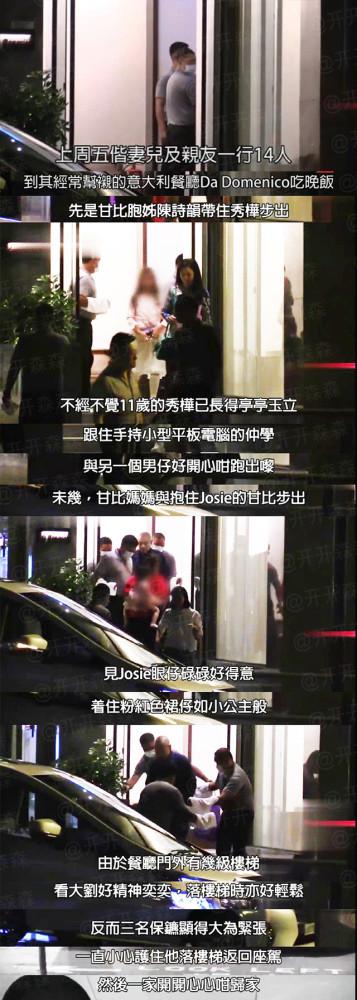 刘銮雄甘比一家共14人聚餐 吕丽君所生子女缺席