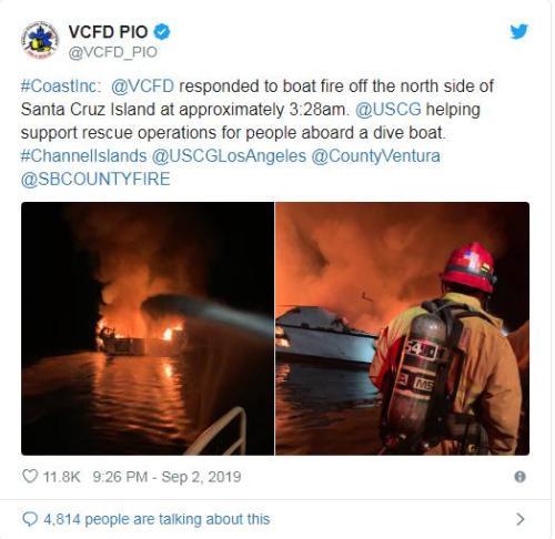 美国加州一船深夜起火 20多名乘客下落不明