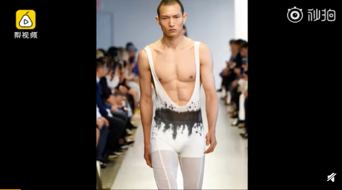 中国秋裤登上纽约时装周,背带连体秋裤绝了现场图